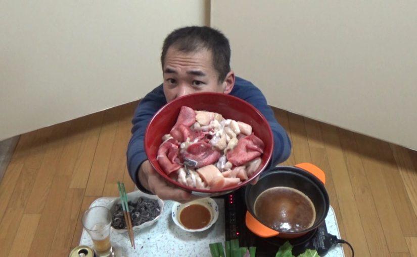 生センマイとモツすき焼きで晩酌!